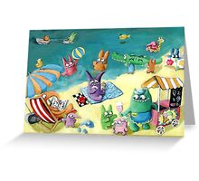 Monster Summer Time on the Beach Greeting Card