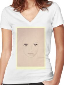 Portrait of a Lady - Rose Women's Fitted V-Neck T-Shirt