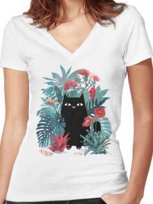 Popoki Women's Fitted V-Neck T-Shirt