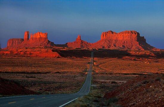 Monument Valley. Road Shot at Sunrise. Arizona. USA by photosecosse /barbara jones