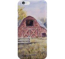 Whiteville Barns - Impressionistic Rural Watercolor Landscape iPhone Case/Skin