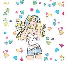 REDBUBBLE music girl fashion illustration Photographic Print