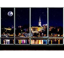 The Old Port Of Belgrade At Night Photographic Print