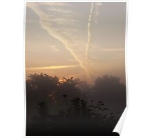 Beautiful jet trails at sunrise Poster