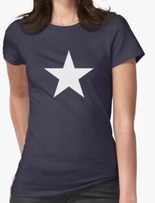 White Star Solid Womens Fitted T-Shirt