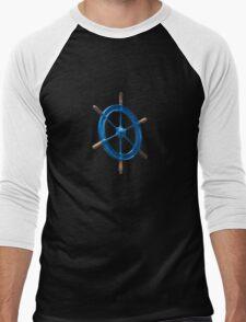 blue sailor wheel Men's Baseball ¾ T-Shirt