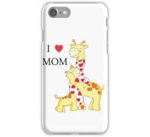 I love mom Giraffe illustration iPhone Case/Skin