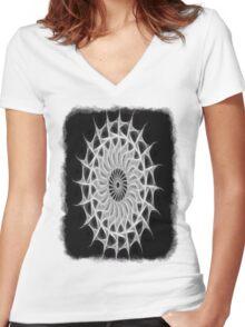 Gray Kaleidoscope Art 30 Women's Fitted V-Neck T-Shirt