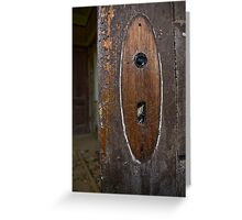 Spiderwebbed doorhandle Greeting Card