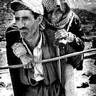 OLD KURDISH MAN CARRIES WOMAN by kfbphoto