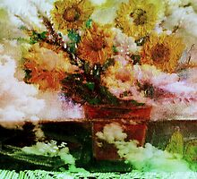 """ Here Comes The Sun ""   Surreal Sunflowers on Table      by John Todaro"