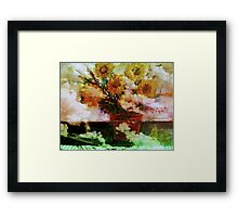 """"""" Here Comes The Sun """"   Surreal Sunflowers on Table      Framed Print"""
