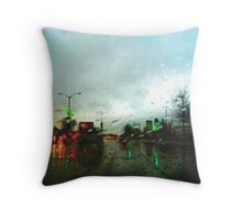 Headlight Rain Reflection Throw Pillow