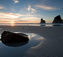 Wharariki Sunset. by Michael Treloar