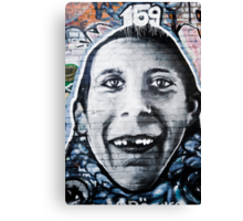 Graffiti Face of teethless boy Canvas Print