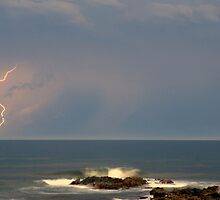 Port Macquarie Beach Lightning by Michael Bath
