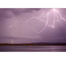 Lightning Crawler over the Richmond River at Ballina Photographic Print