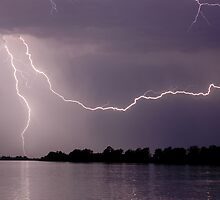 Lightning over the Clarence River at Lawrence by Michael Bath