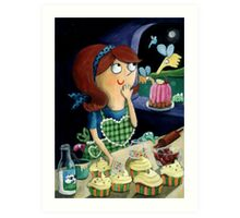 Little Girl's Kitchen and cute flying monsters Art Print