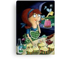 Little Girl's Kitchen and cute flying monsters Canvas Print