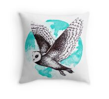 Blue Barn Owl  Throw Pillow