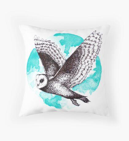 Blue Barn Owl  Throw Pillow