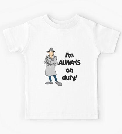 Inspector Gadget - I'm Always On Duty - Black Font Kids Tee