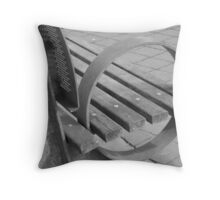 O, a bench by the harbor Throw Pillow