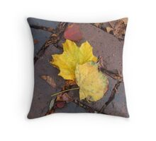 City Sidewalk in Autumn Throw Pillow