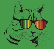 Cool Cat Mirror Rainbow Shades.  One Piece - Short Sleeve