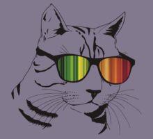Cool Cat Mirror Rainbow Shades.  Kids Tee