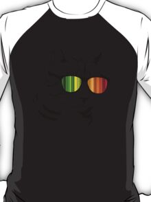 Cool Cat Mirror Rainbow Shades.  T-Shirt