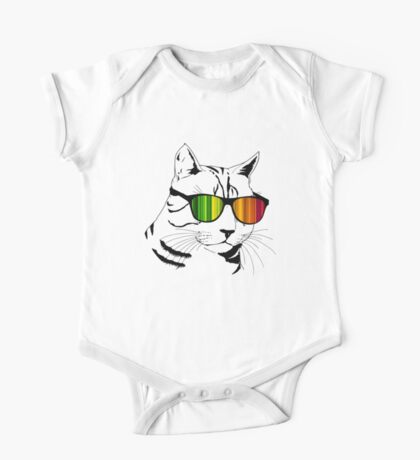 Cool Cat Mirror Rainbow Shades.  One Piece - Short Sleeve