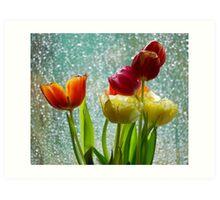 Tulips and Rain Art Print