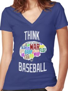 Think Baseball Women's Fitted V-Neck T-Shirt