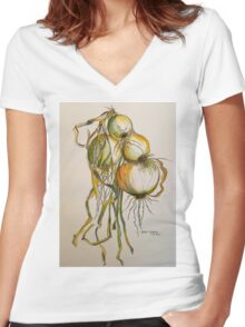 Drying onions Tuscany p&w 2010.  Women's Fitted V-Neck T-Shirt
