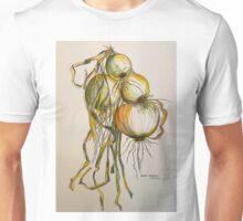 Drying onions Tuscany p&w 2010.  Unisex T-Shirt