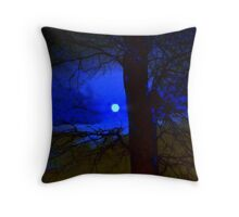 Over the saturated moon Throw Pillow