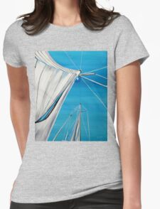 Sailboat sail Amel 1 Oil on Canvas Painting Womens Fitted T-Shirt