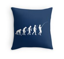 Evolution of Man and Fishing Throw Pillow