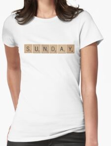 Wood Scrabble Sunday! Womens Fitted T-Shirt
