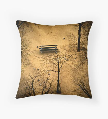 Lonely bench Throw Pillow