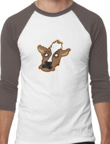 Cowering Cow Men's Baseball ¾ T-Shirt