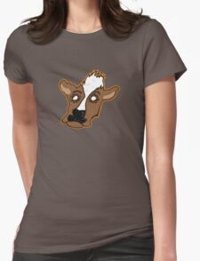 Cowering Cow Womens Fitted T-Shirt