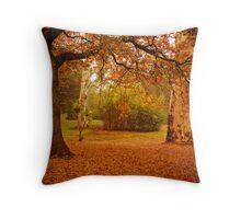 Autumn leaves cover the ground at La Trobe Uni Throw Pillow