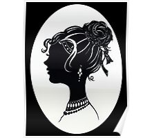 Vintage Fashion Silhouette, Old Fashioned Vanity , Beauty black white Poster