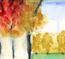 Fall Trees Abstract  Landscape Watercolor Painting Sticker