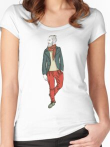 man in fashion clothes Women's Fitted Scoop T-Shirt