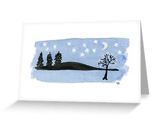 Starry night with the moon black trees and mountains. Watercolor Greeting Card