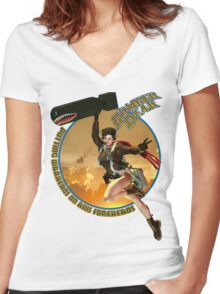 Bomber Dear - Putting Warheads on Axis Foreheads Women's Fitted V-Neck T-Shirt